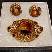 Vintage Tiger Eye stone Filigree Brooch And Earring Set-W. Germany