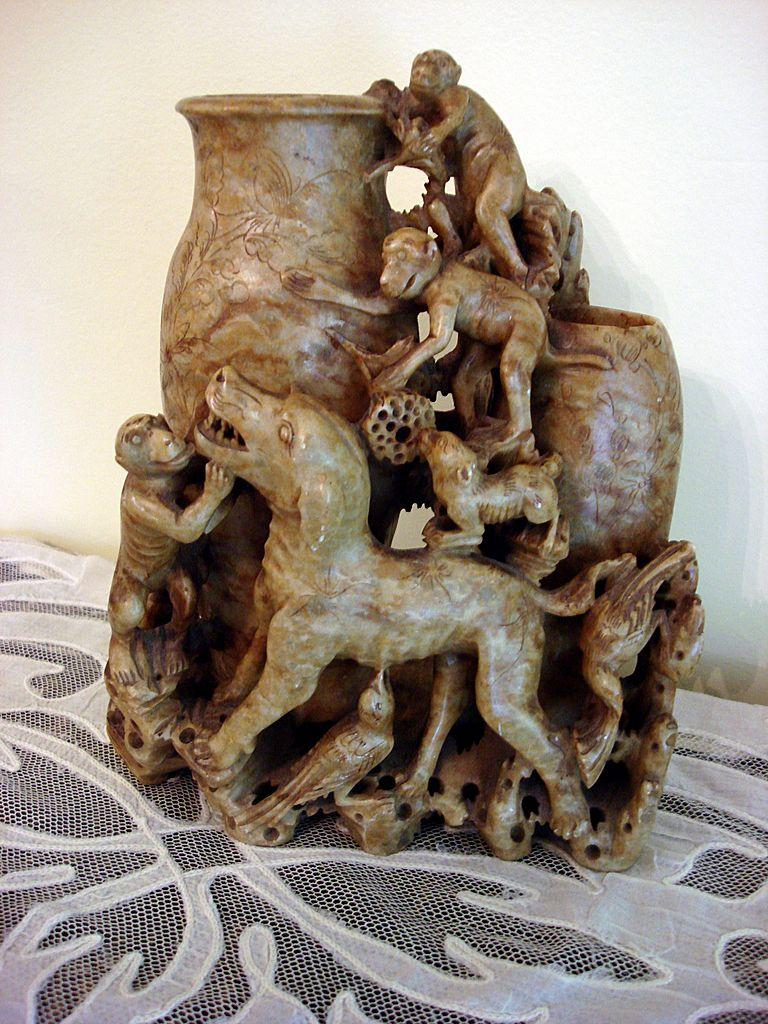 Antique Chinese Soapstone Carving Vases Dogs Birds And Monkeys From Ottosantiques On Ruby Lane