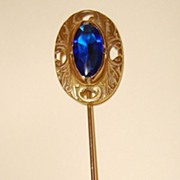 Vintage Copper Scarf Pin With Cobalt Blue Stone