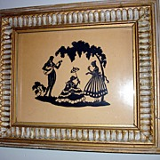 Victorian Glass Framed Paper Cut Silhouette