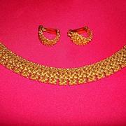 Vintage Sarah Coventry Gold Tone Bracelet & Earring Set