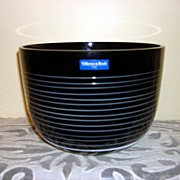 Vintage Villeroy & Boch Black Crystal Bowl With White Spiral Line