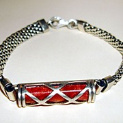 Antique Sterling Mesh Bracelet With Capsule Shape Case