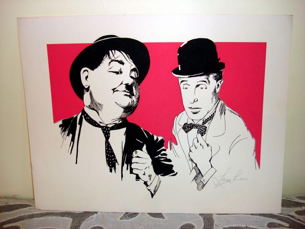 Three Color Woodblock Print Of Laurel Hardy By Lavy Lee Ottos Treasures