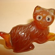 Antique Chinese Hand Carved Miniature Agate Cat Figurine