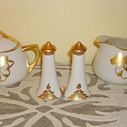Czechoslovakian Porcelain Creamer-Sugar Bowl- Salt & Pepper Set