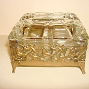 Vintage Clear Glass Jewelry Box On Metal Stand