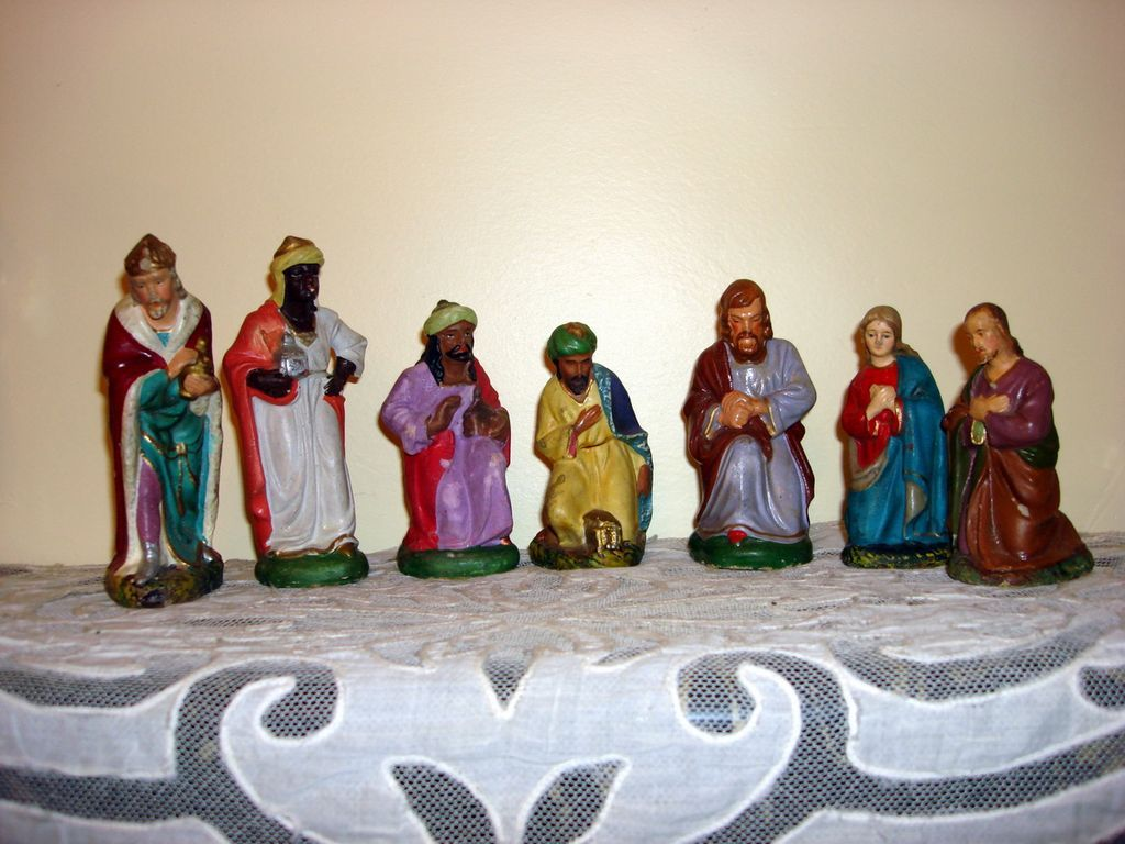 Vintage German Composite Nativity Figurines