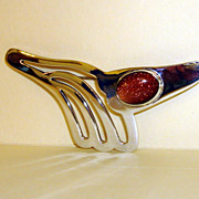 Sterling Abstract Brooch With A Goldstone