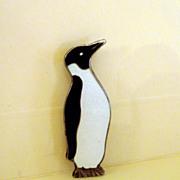 Vintage Sterling/Enamel Penguin Brooch
