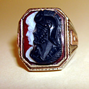 14K White Gold Double Cameo Ring