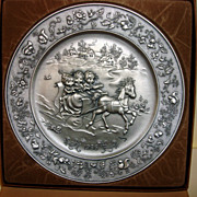 1986 Hallmark Christmas Pewter Plate With Box