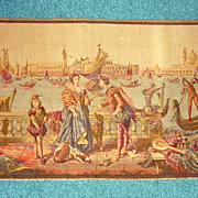 Vintage Tapestry Renaissance Venice Italy Scene