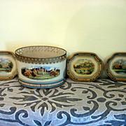 Vintage Baret Ware Tin Desk Basket And Three Canape Trays - England