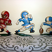 Vintage Homco Boys Football Player Wall Cast Metal Plaques
