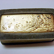 Vintage Velvet Pin Box With Gilt High Relief Landscape Plaque