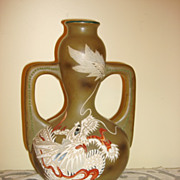Antique Japanese Moriage Enamel Dragon Vase
