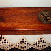 Vintage Wooden Sliding Lid Artist Paint Brush Box