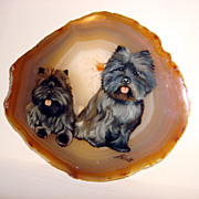Scotties Signed Painting Over A Natural Carnelian/Agate Stone