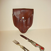 1942 Pat. Boy Scouts Fork And Knife With Leather Case From New York City
