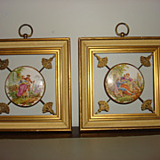 Vintage Framed Porcelain Medallion With Victorian Scene