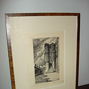 French Vintage Etching Mont Saint Michel Le Chatelet-Emile Leroy