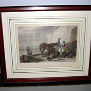 "French Color Engraving ""Les pecheurs"" By Ed Willmann"