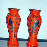 Vintage Silver Overlay Czechoslovakian Glass Vases