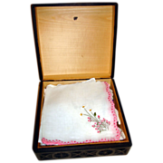 Vintage Wooden Carved Box With Ladies Hankies