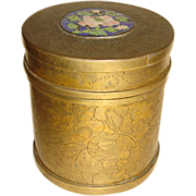 Vintage Oriental Engraved Brass Container With Enamel Medallion on the Lid