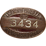 1918 New York Licensed Chauffeur Pinback Badge