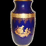 Limoge Cobalt Blue Porcelain Vase -France