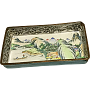 Old Oriental Enamel On Copper Small Tray