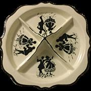 Vintage Erphila Art Poterry Czechoslovakia Silhouette Plate