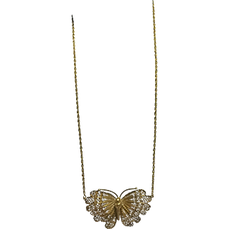 Vintage Filigree Butterfly With Chain