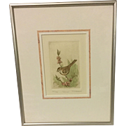 "R H Rabeau Original Etching ""Sparrow"""