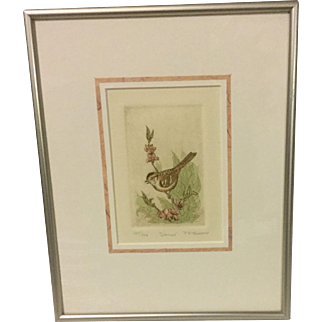 "R H Rabeau Original Etching ""Sparrow"""