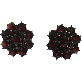 Antique Bohemian Garnet 14K Earrings