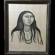 "Raul Anguiano ""Doncella"" ""Maiden"" Signed Lithograph Circa 1951"