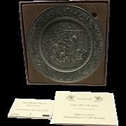 1984 Christmas Hallmark Pewter Plate With Original Box