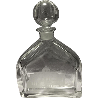 Stunning Orrefor Acid Etched Resorts Liquor Decanter