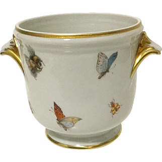 Limoges France Butterflies-Insects Small Vase