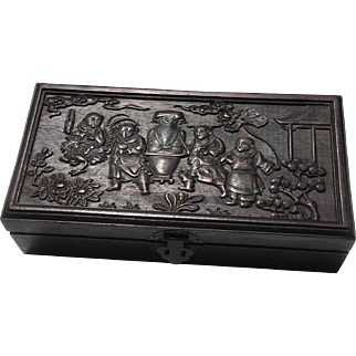 Late 19th Century Carved Chinese Rosewood Box
