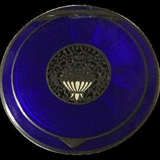Vintage Austrian Compact Cobalt Blue Enamel On Steriling