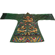 Antique Chinese Silk Embroidery Satin Robe