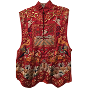 Vintage Chinese Silk Embroidery Vest
