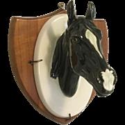 Vintage 3D Porcelain Horse Head On Wooden Plaque