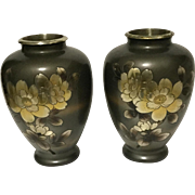 Vintage Signed Japanese Mix Metal Art Vases With Flowers Multimetal Inlay Brass-Bronze-Silver Tones