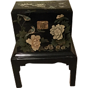 Vintage Hand Painted Black Lacquer Oriental Small Trunk With Stand