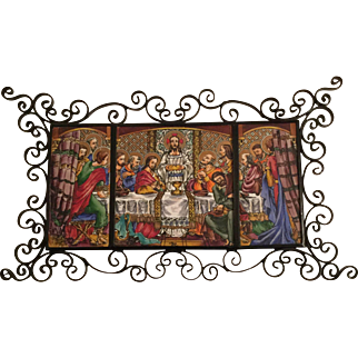 Vintage Last Supper Painting On  A Triple Tile Panel